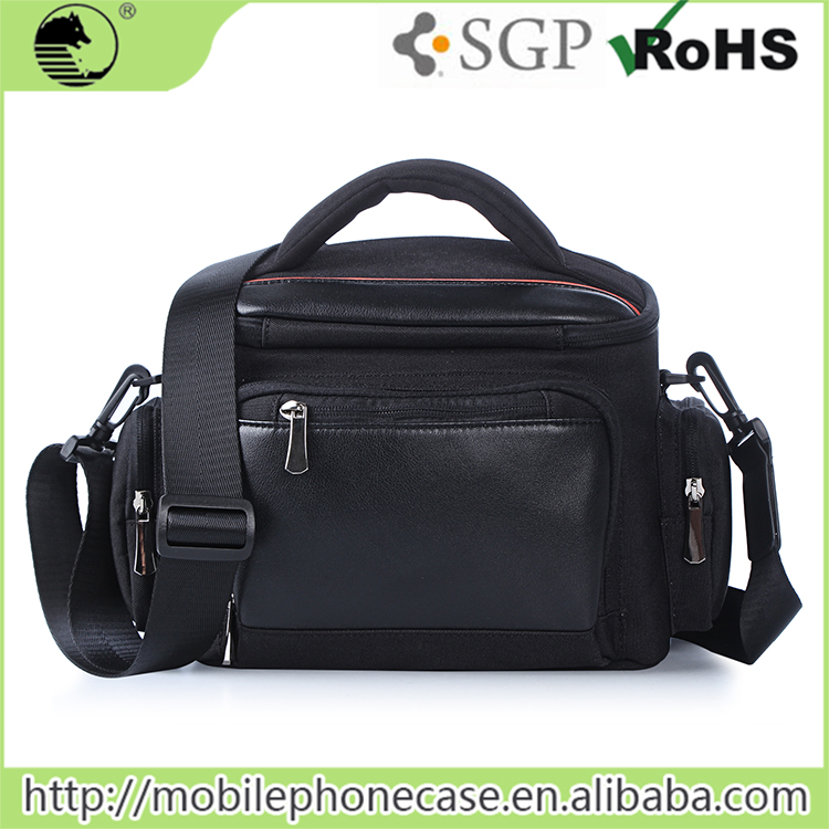 Black Nylon+PU Digital DSLR Camera Bag