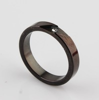 popular crystal paved fashion stainless steel ring black stone