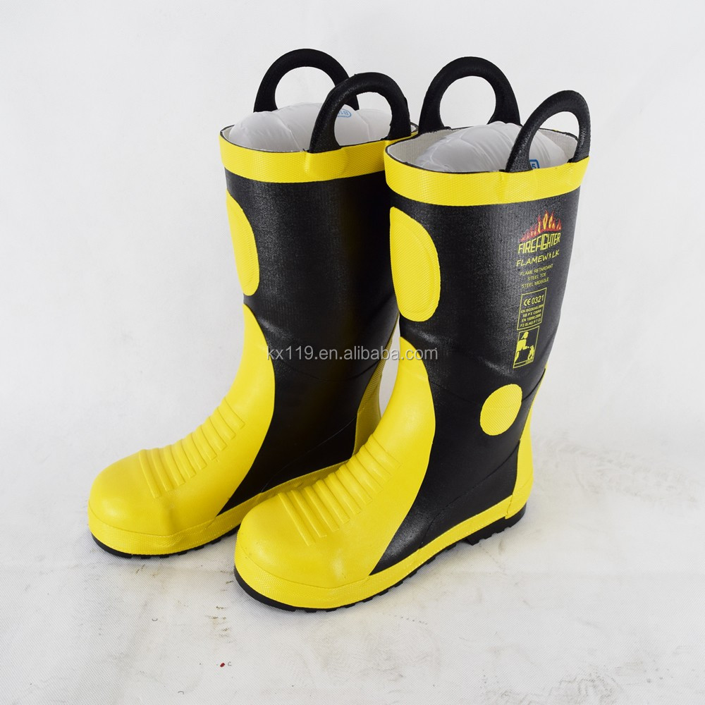 Steel Toe Steel Mid Sole Vulcanized Rubber Firefighter safety Boots