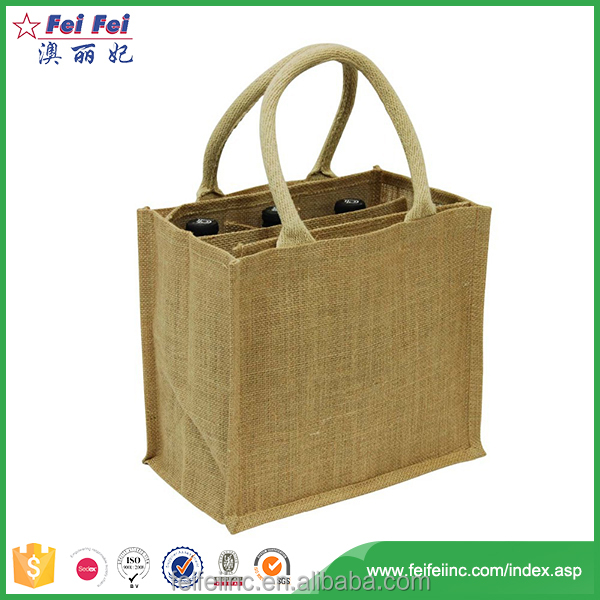 New Eco-Friendly Reusable Jute Tote Wine Bag