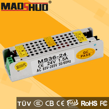 CE Listed IP20 open frame LED Driver 36W 24V Constant Voltage LED Power Supply