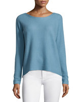 Best quality Royal blue spring women cashmere blended sweater with big o-neck