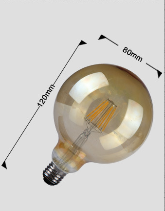 LED bulb light CE EMC LVD RoHS 6W G80 filament led bulb