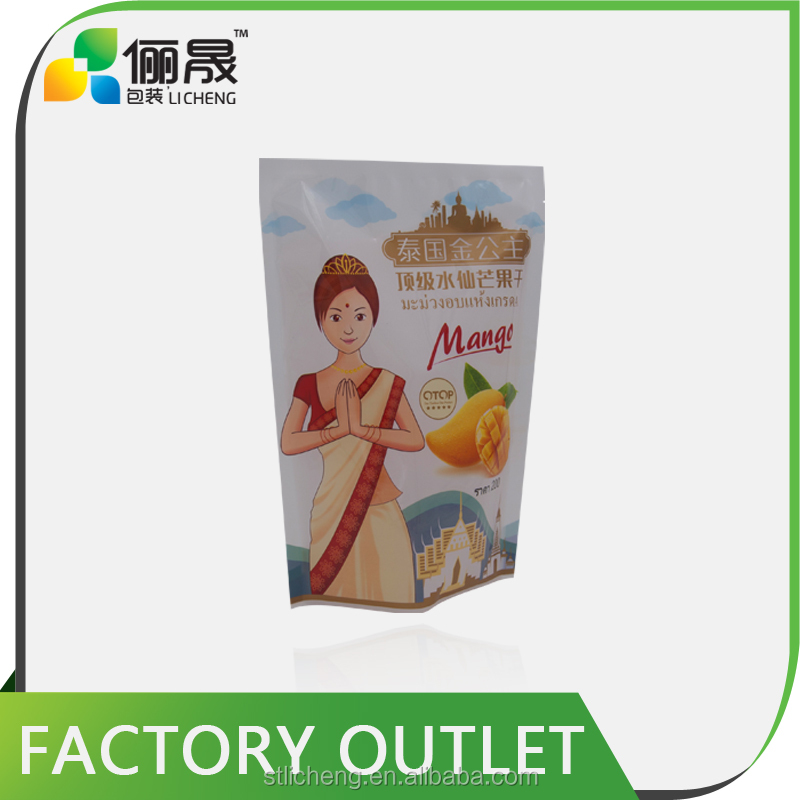 High quality and customize print dried mango packaging three side seal plastic bag