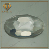 lowest price transparent oval shape 13*20mm checker cut large glass stones