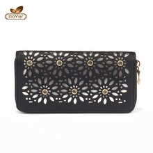 Hot sell metal chain women 2pcs set bags hollow out PU wallet