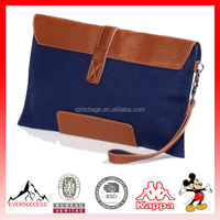 Men's Casual canvas clutch bag Snap-fastener PU Leather Flap Bag