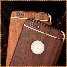 3 In 1 Anti-knock Hard PC Cases Removable Back Cover Wood Pattern Phone Case for iPhone 7 6 6S Plus