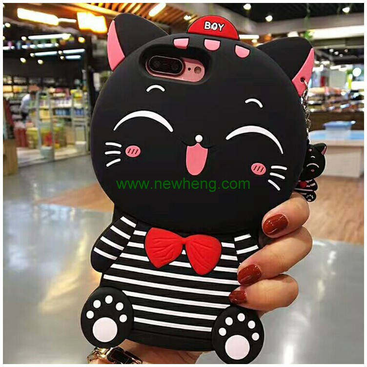 Fashion Cute 3D Black Cat Protective Soft Cell Phone Case Cover for iphone 6 plus
