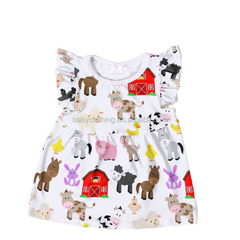 kids clothes 2017 baby girls fashion t-shirt animal print baby flutter tank top