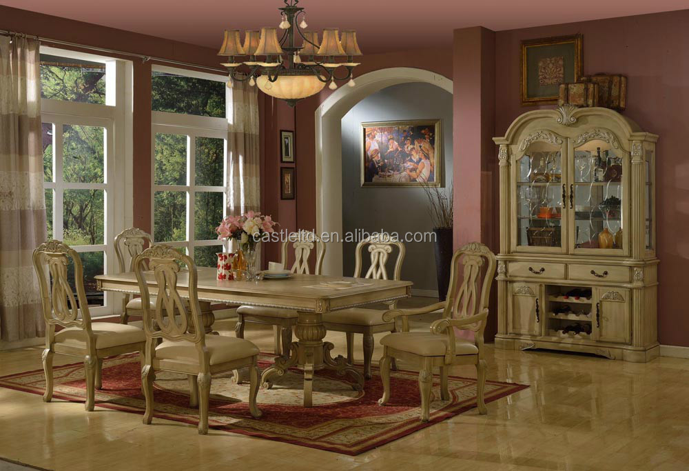 wholesale antique white wooden dining room set home hotel dining