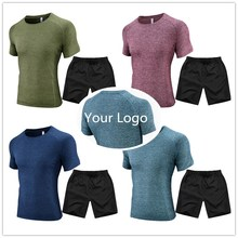 men sportwear custom OEM logo gym <strong>sport</strong> t shirt with shorts