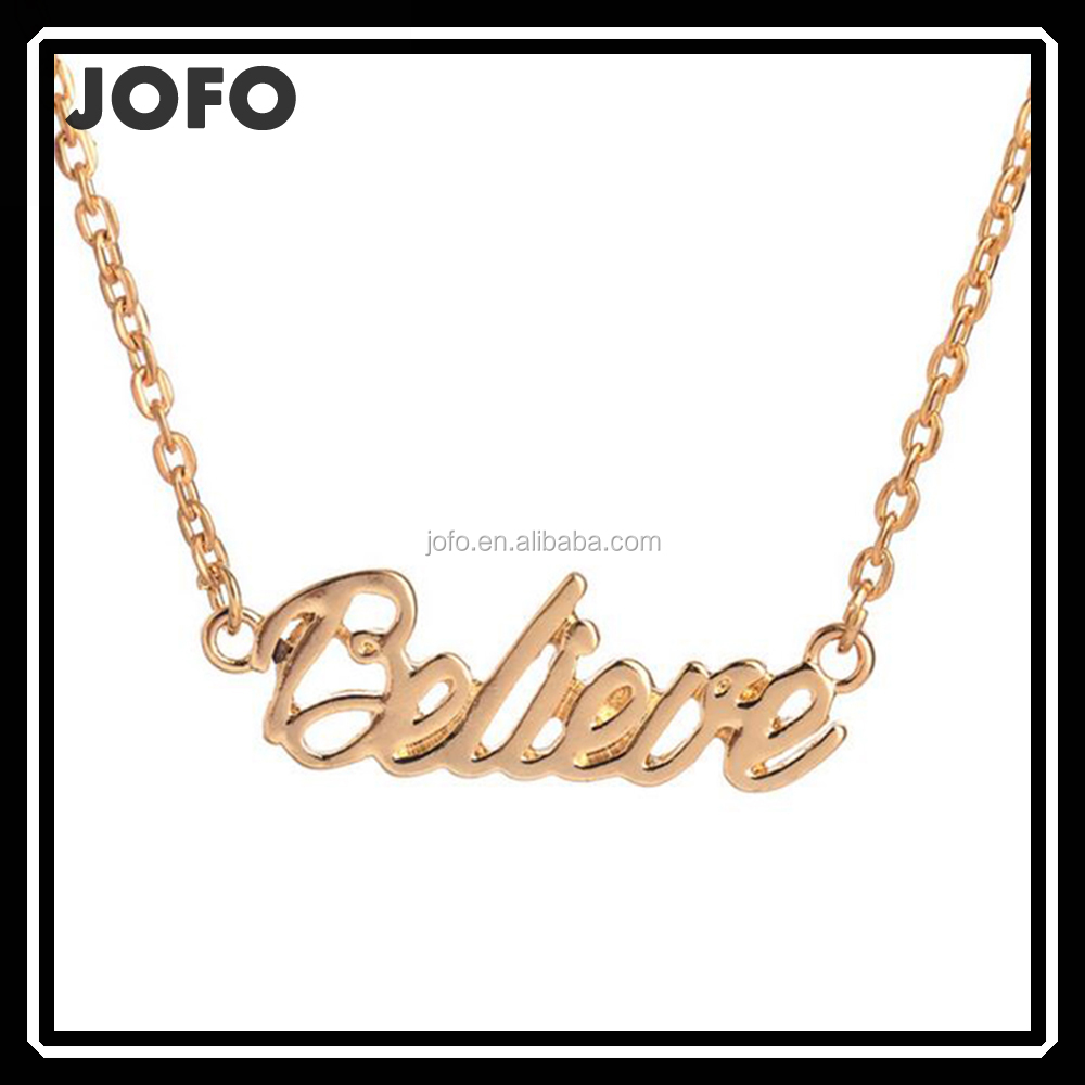 Fashion Cheap Gold Plated Unique Word Necklace Jewelry Engraved Words Necklace
