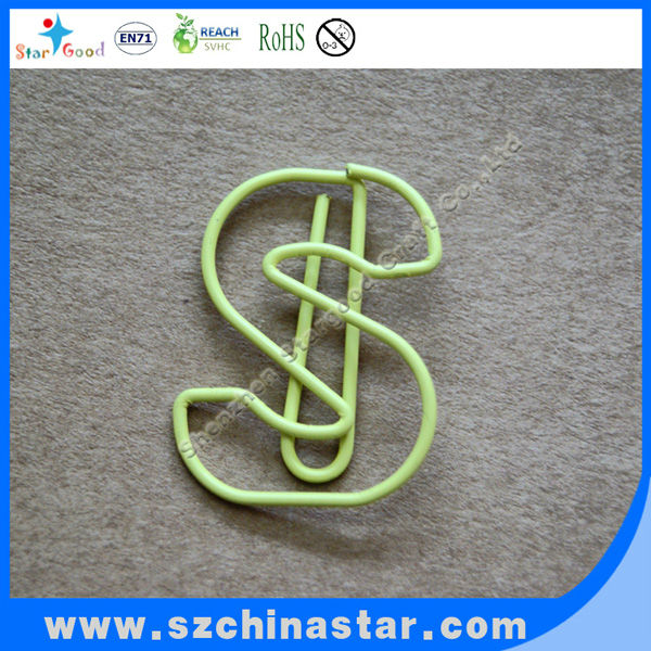 letter S shaped paper clip
