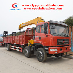 6x2 Flatbed Tow Truck With XCMG 10ton Crane , Loading Crane Truck For Sale