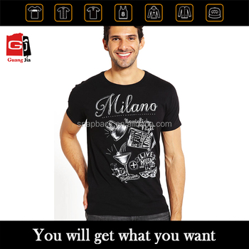 Fashion And Casual Wear Custom Printed Pattern Short Sleeve Black Tshirt For Men