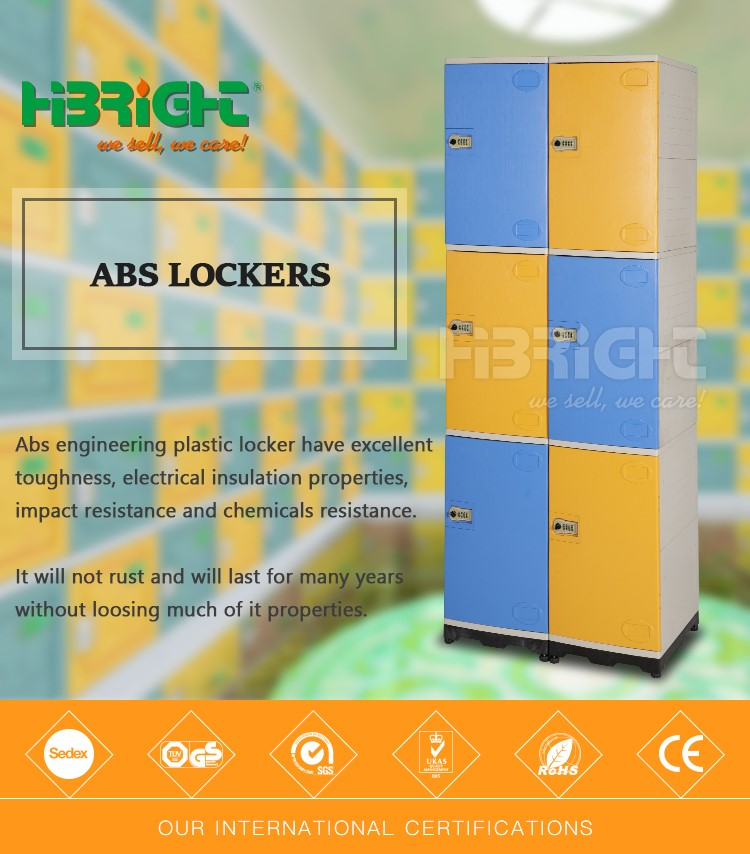 6 door coin operated waterproof storage office locker