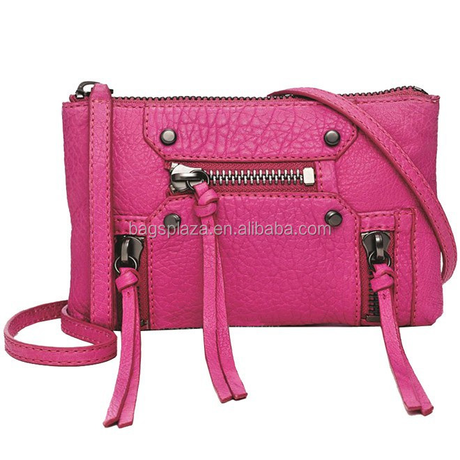 Cheap four zippers pu leather mini cross-body bag ladies (CL9-098)