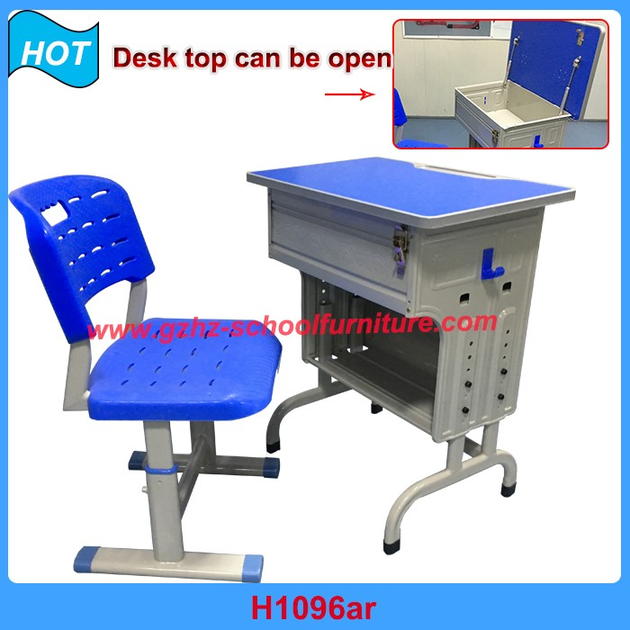 Used School Furniture Guangzhou Manufacturer for Sale Desk and Chair with Lock Price List
