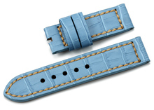 OP-91 Good Quality Handmade Light Blue leather watch strap with steel buckle