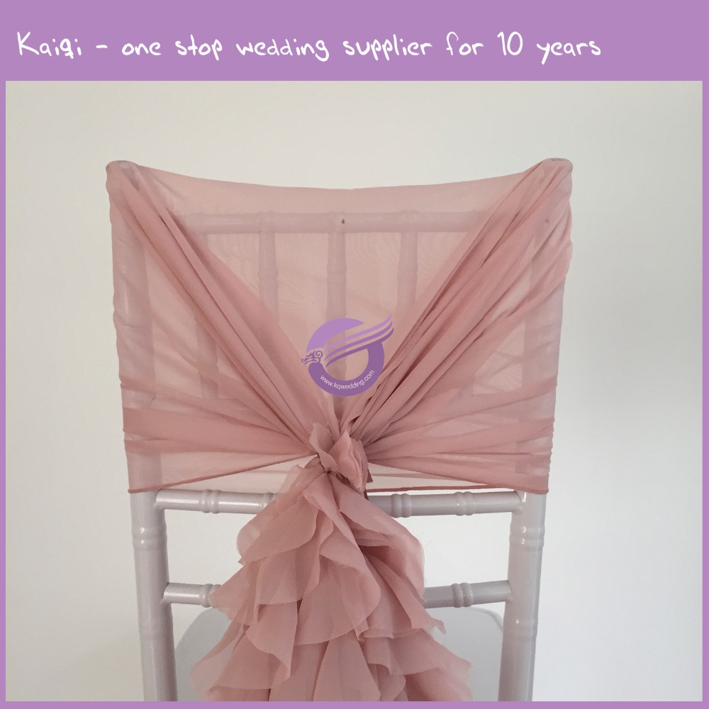 YT07038 Fashionable design wholesale Fancy blush pink ruffled chiffon chair covers curly willow sash chair covers wedding decor