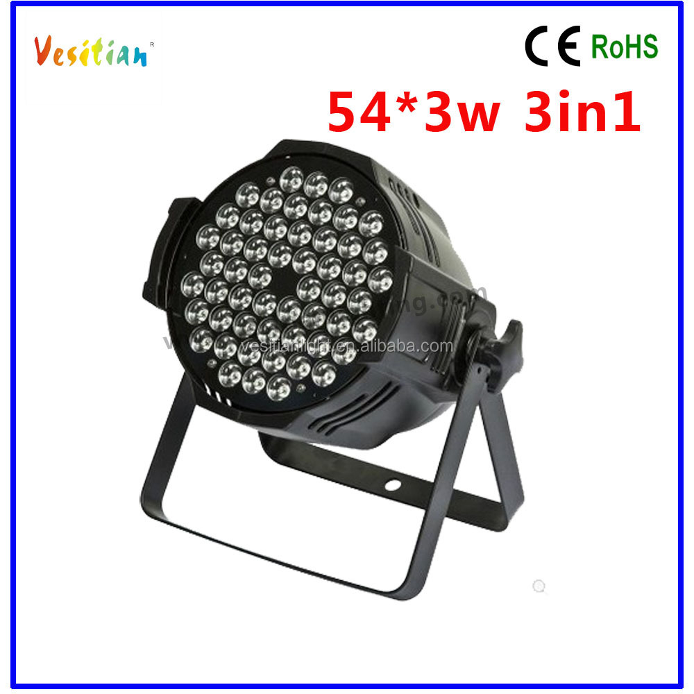 Cheap led par can/54*3W cast aluminium led dmx par64/new par can 54pcs 3w 3in1 led
