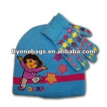 Children winter knitted hat & gloves 2 sets