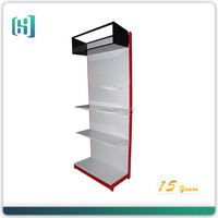 supermarket metal iron steel hook pegboard display stand with light box and shelf HSX-S0255