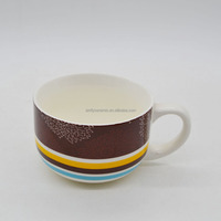 Factory price ceramic soup bowl with handle