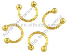 Gold plated Micro Circular Barbell ring,ear piercing,nose ring