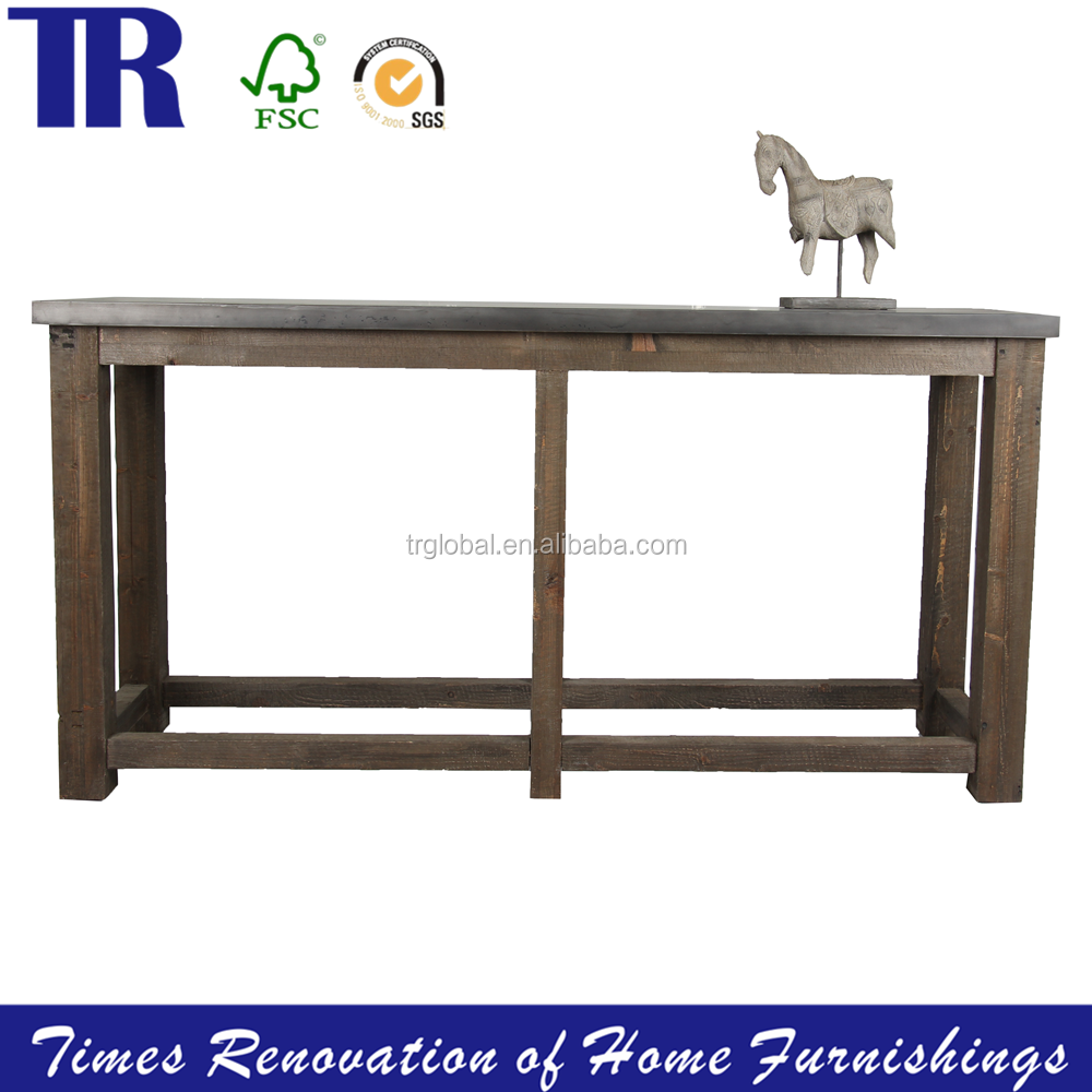 Zinc Top Dining Table,Dining Table with RecyclePine Legs ,Antique Dining Table
