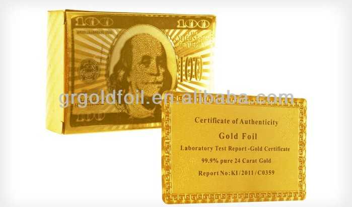 Gold plated plastic PET playing cards