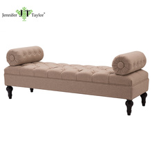 Wholesale Modern fabric botton tufting Bolster bench upholstery Incense Tan bed end stool bedroom set <strong>Furniture</strong>