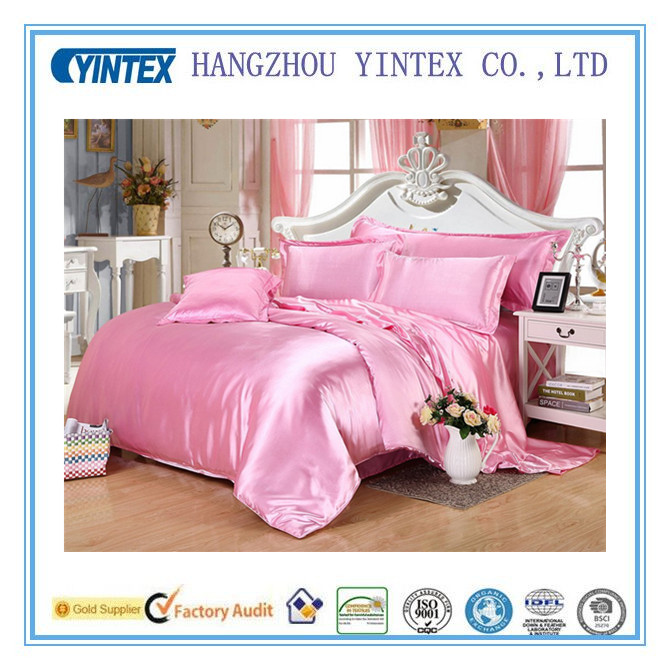 Pink 100% Silk 4-Piece Bedding Set Duvet Cover Silk Pillowcase Silk Sheet Luxury Bedding, King ,