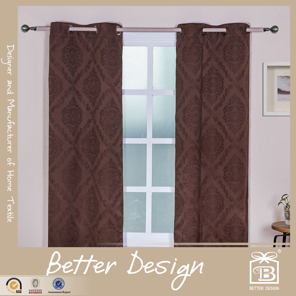 2PCS FLOWER DESIGN POLYESTER JACQUARED COATING BLACKOUT DRAPES CURTAINS FOR WINDOW