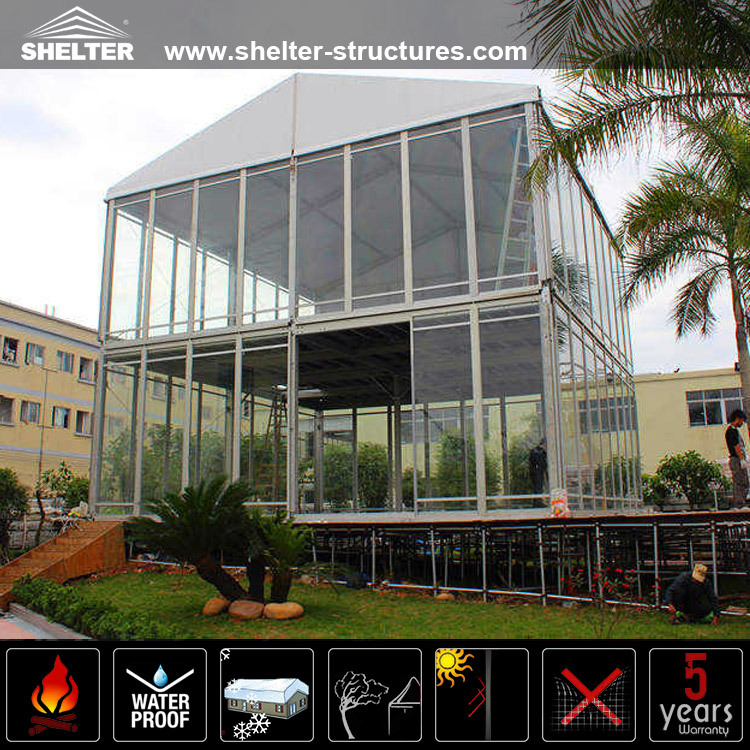 2016 Large Glass Wall Aluminum Frame Double Decker Tents
