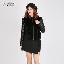 Real Mink Fur Coat Woman For Sale Black Sheepskin Leather Jackets Stand Collar Blazer Zipper Filling Down Cotton