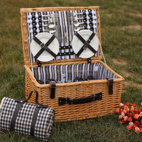 Buy Camping Wicker Basket with Fabric Lining Picnic Wicker Basket ...