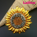2017 New 56mm Gold Plating Rhinestone Sunflower Brooch For Women Wedding Bouquet Brooch Jewelry