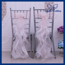 CH098 Cheap wholesale fancy hot sale frilly ruffled blush pink and ivory chair cover sash