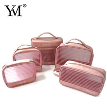 2016 New women's fashion personalized nylon mesh makeup bag cosmetic pouch set