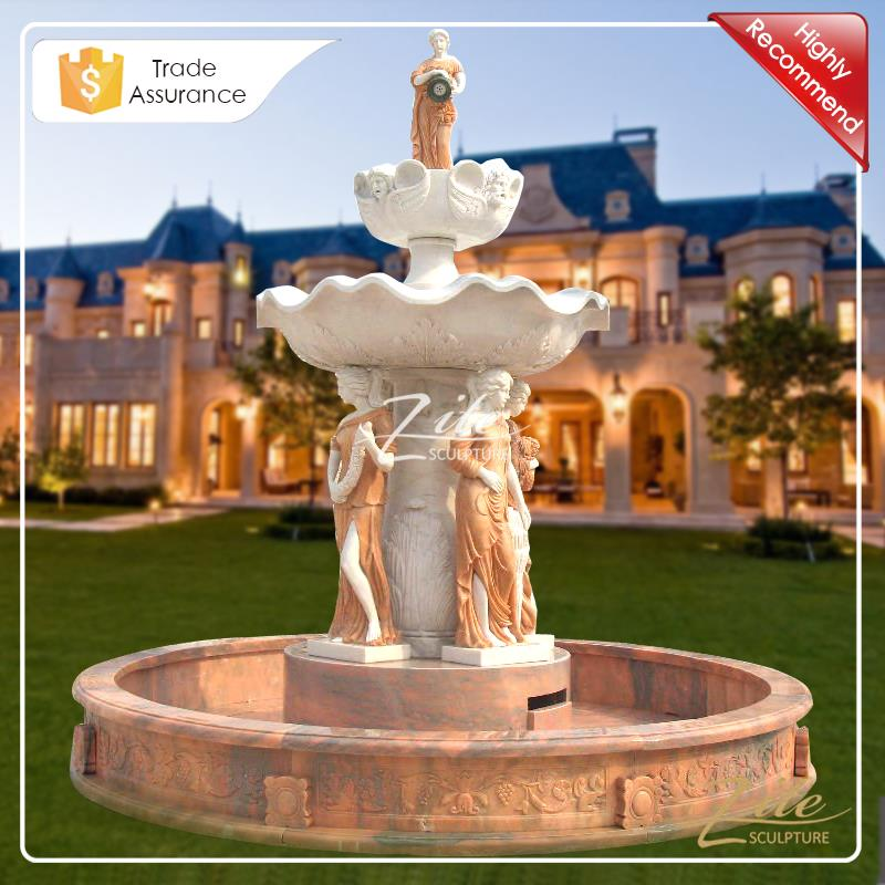 Classic Design Large Outdoor Lady and Fishes water fountains outdoors stone