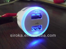 2000mA 2 USB Port Car Charger With Blue LED