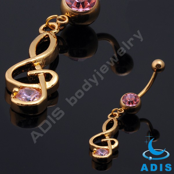 Fashion Heart Surgical steel Double Jeweled Navel Bar Belly Ring Dangle