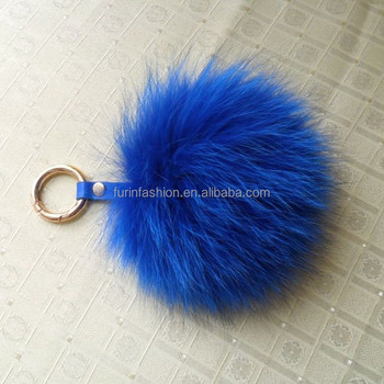 2017/2018 Genuine 13cm Colorful Fox Fur Bobble Keychain Pendant with Leather Strap for Bag/Accessories/Christmas/Home Decoration