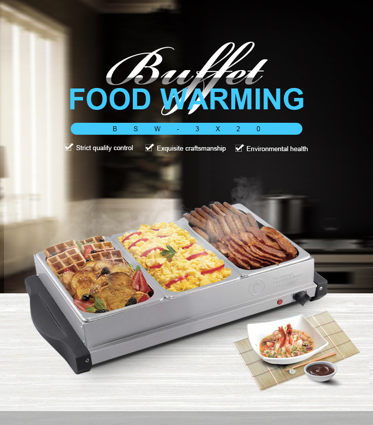China product for sale large 3-station buffet server and food warmer