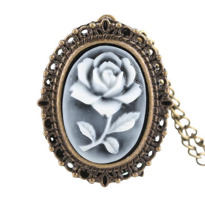 Vintage Beautiful Charm Flower Rose Elegant Small Size Pocket Watch Necklace Pendant for Ladies Girl Woman Art Rosebush Clocks (1)