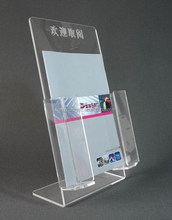 Wholesale high quality two pockets acrylic brochure holder manufacture