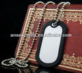 blank military dog ID tag with rubber silencer wholesale