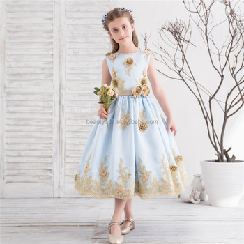 2018 real blue party dress Flower Girl Dress For Girls A-line Knee-length emboried Lace hand made beads Flower Girl' s Dress